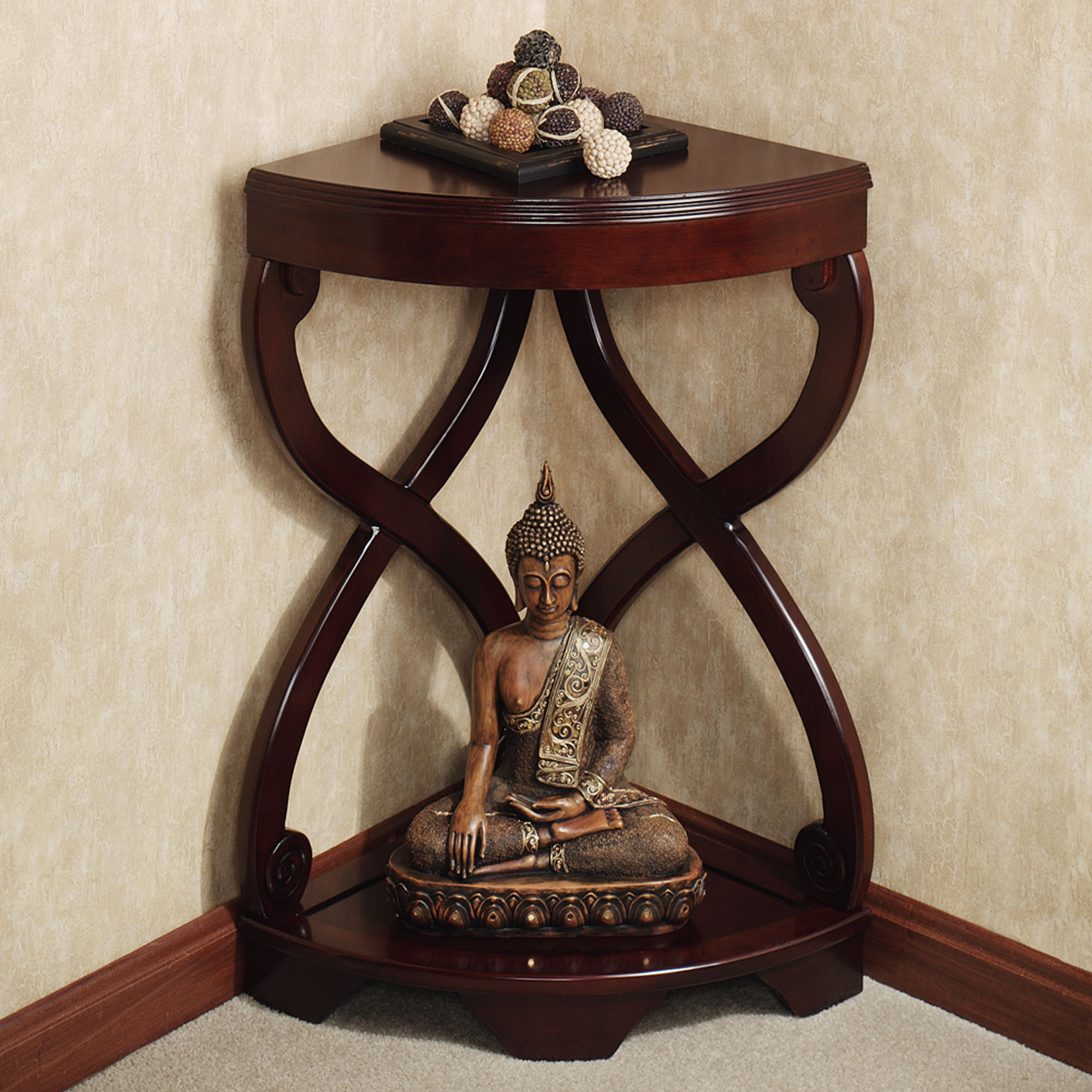 unique accent tables for living room small house interior design furniture corner espresso color paxton wooden table and buddha statue awesome using drawer not round foyer west