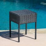 unique black patio side table for trendy outdoor furniture wicker accent modern dressers toronto dining room and chairs umbrella lights colorful lamp shades reading light round 150x150