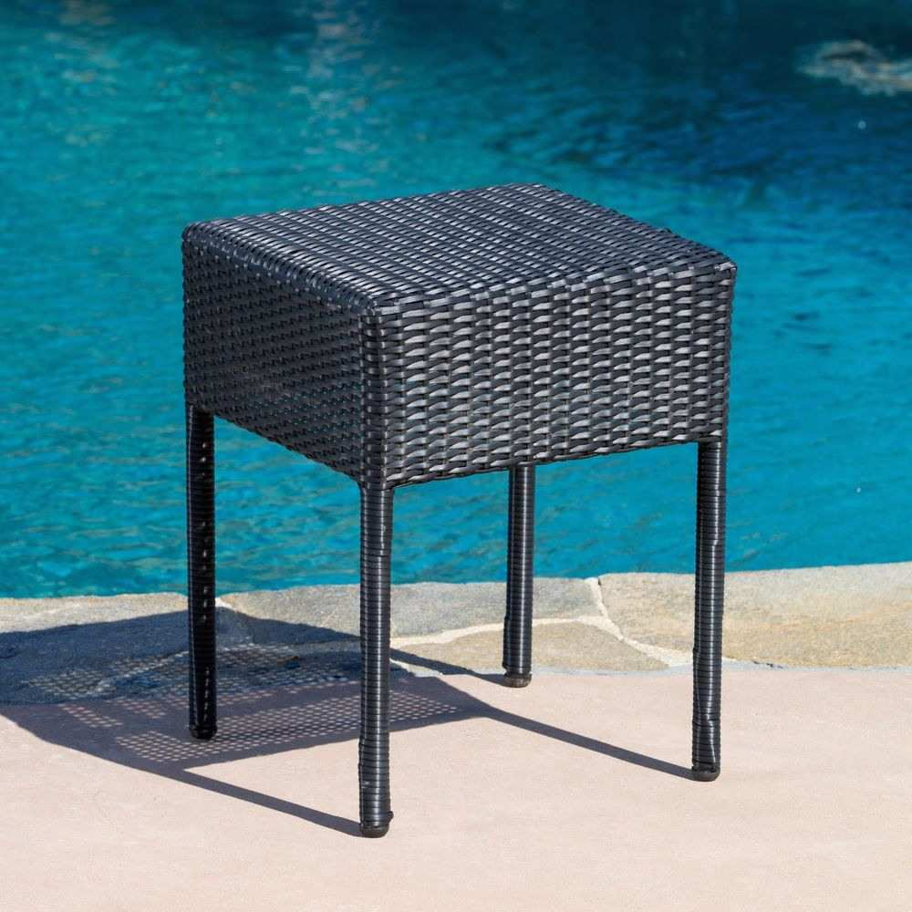 unique black patio side table for trendy outdoor furniture wicker accent modern dressers toronto dining room and chairs umbrella lights colorful lamp shades reading light round