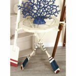 unique fascinating nautical inspired white ship wheel accent table and oar with shaped iron legs distressed blue red finish clear glass target side drawer perspex small bedside 150x150