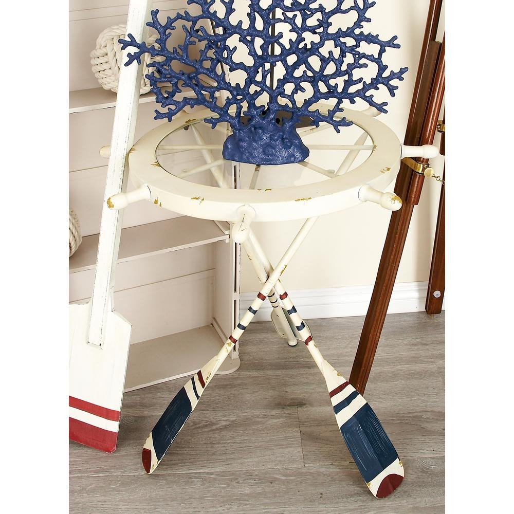 unique fascinating nautical inspired white ship wheel distressed accent table and oar with shaped iron legs blue red finish clear glass storage cabinet doors dark wood bedroom