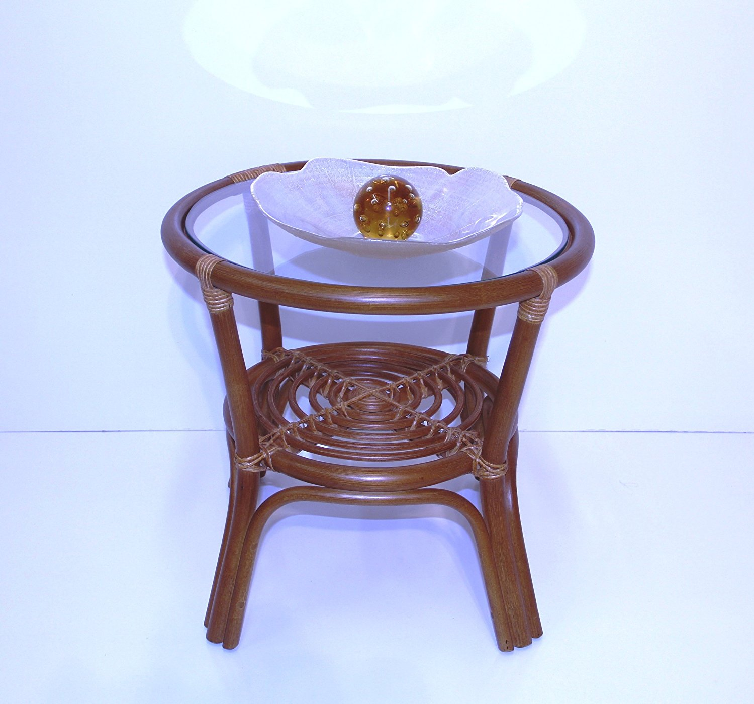 unique living room side table design small round end tables rattan wicker accent traditional style natural material cognac finish bottom storage shelf with drawer full size chairs
