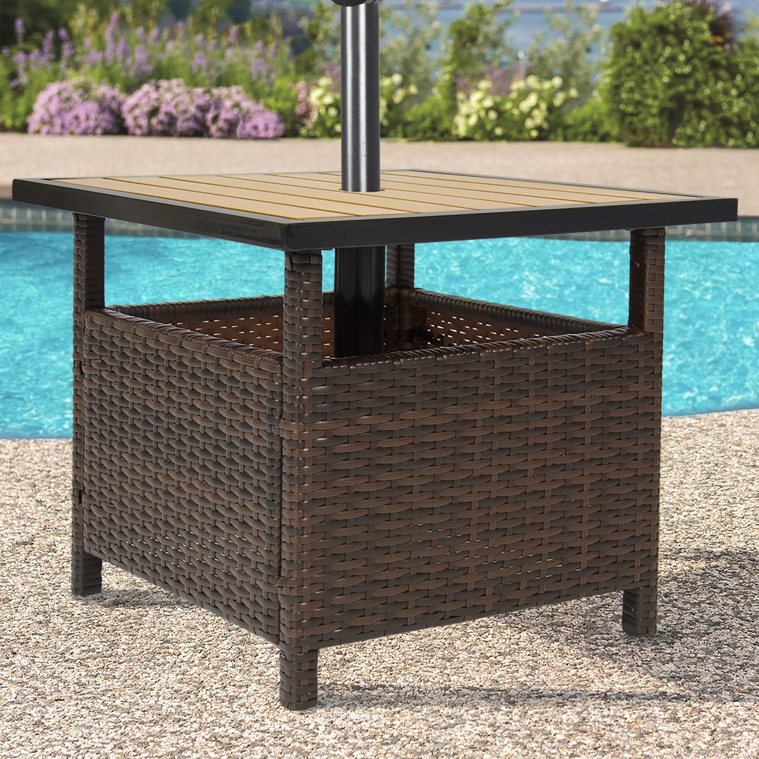 unique patio umbrella side table outdoor coffee with stand little more decorative the home hole west elm weatherproof garden furniture ashley and chairs target room decor pottery