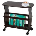 uniquewise wooden magazine rack table accent end side with racks rolling casters dark green coffee glass top storage very garden furniture spokane oil rubbed bronze spray paint 150x150
