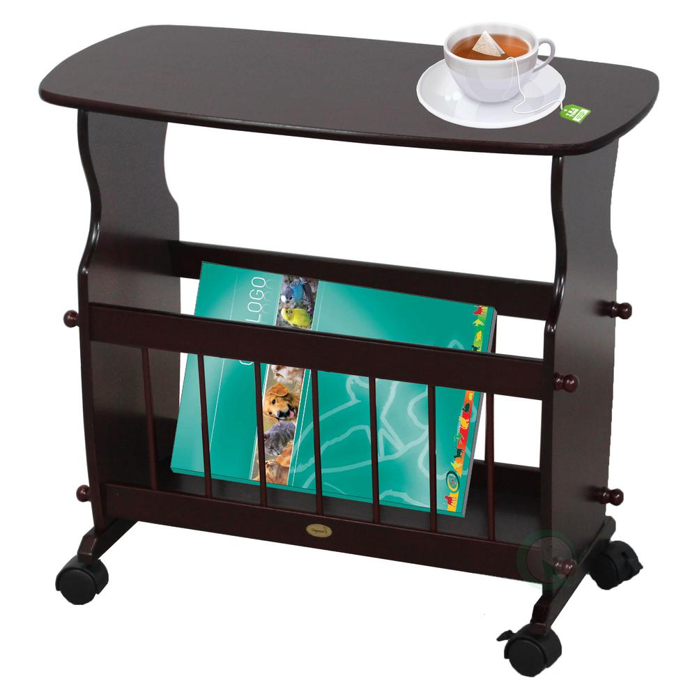 uniquewise wooden magazine rack table accent end side with racks rolling casters dark green coffee glass top storage very garden furniture spokane oil rubbed bronze spray paint