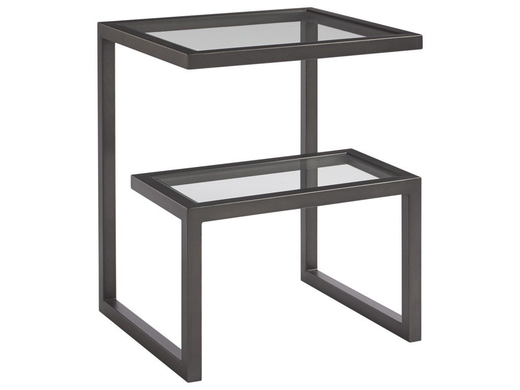 universal spaces mixed media denison end table with multi level products color ryder small accent mediadenison cream colored tables ethan allen entertainment center black pedestal