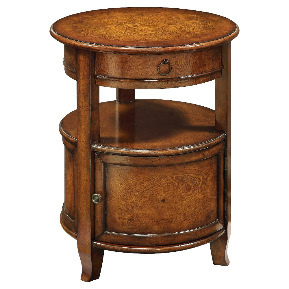 upc coast greenlee brown round cabinet treasure trove accent end table product for with drawer christopher knight college dorm stuff gold metal lamp ashley furniture pub half moon