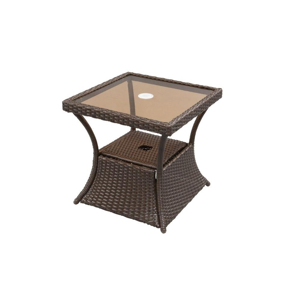 upc hampton bay tables ally woven patio accent table metal product for umb antique exterior doors kitchen legs small lucite side reclaimed wood chairs pipe breakfast with stools