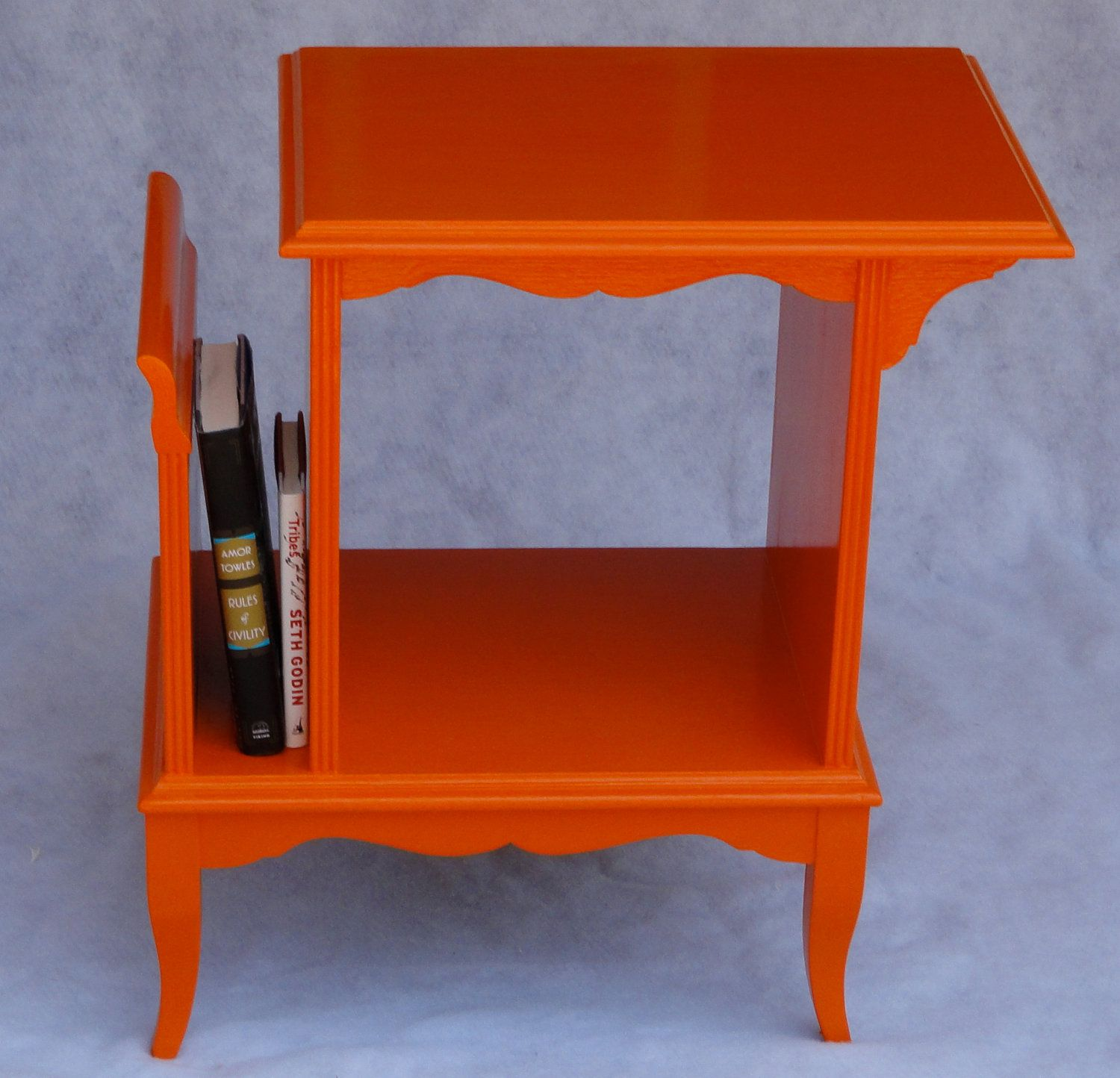 upcycled orange painted magazine rack side table nightstand accent end oval with drawer college dorm room hairpin legs coffee and chairs mid century dresser wooden bedside designs