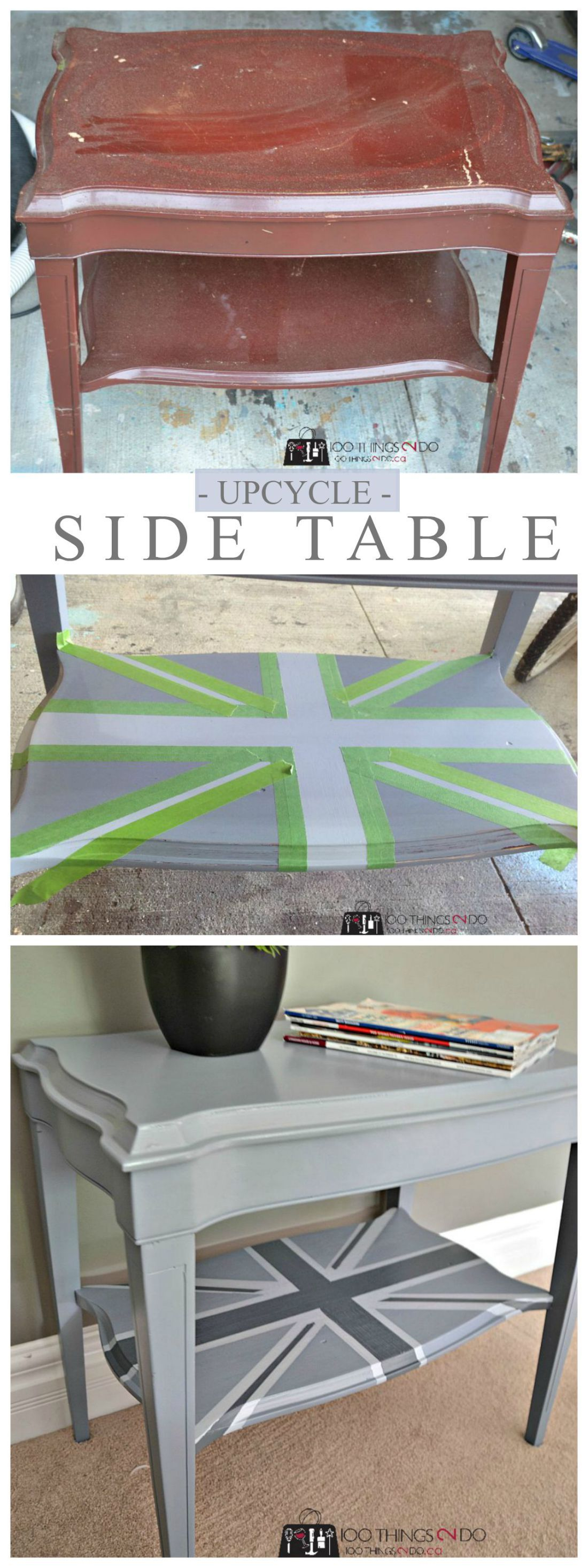 upcycled side table union jack creative diy ideas furniture accent makeover from garbage find bbq and chairs hobby lobby decorations tray top red oriental lamps luxury living room
