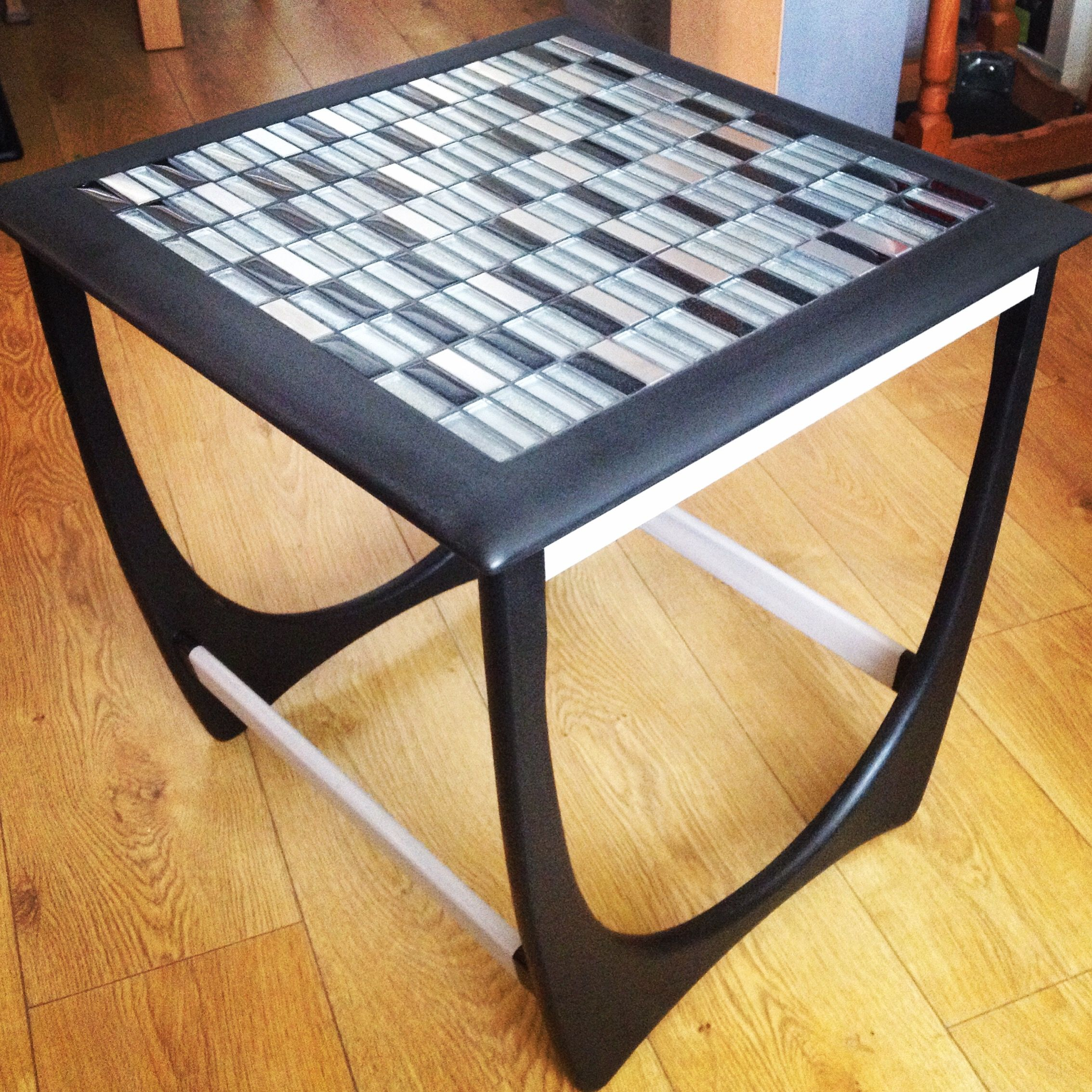 upcycled vintage end table black and grey with silver modern tables white christmas tablecloth abbyson furniture toy steering wheel gold glass accent broyhill drawer antique