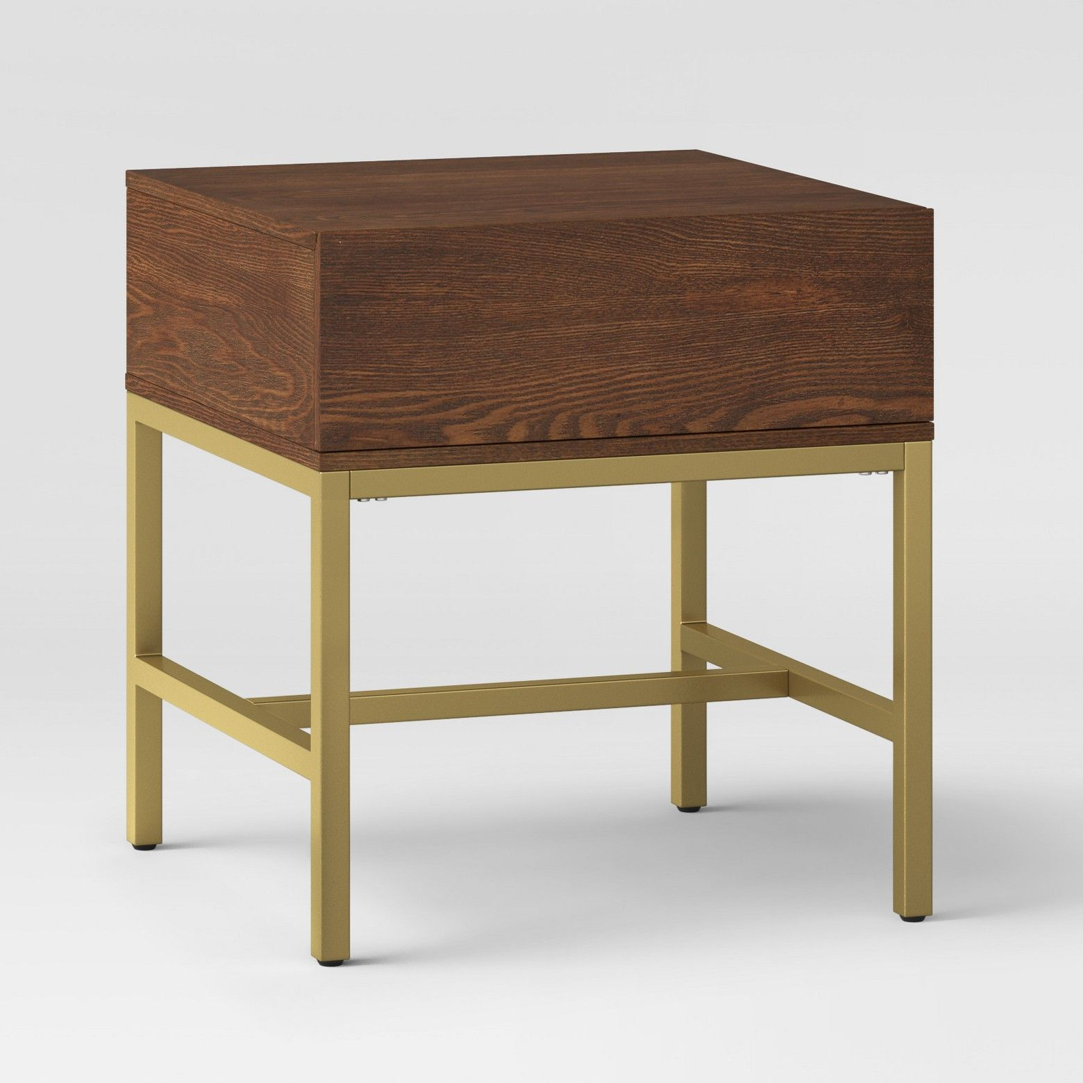 update your home with modern accent piece like this antwerp end walnut one drawer table project from the wooden top and gold metal frame blend easily mirrored console target