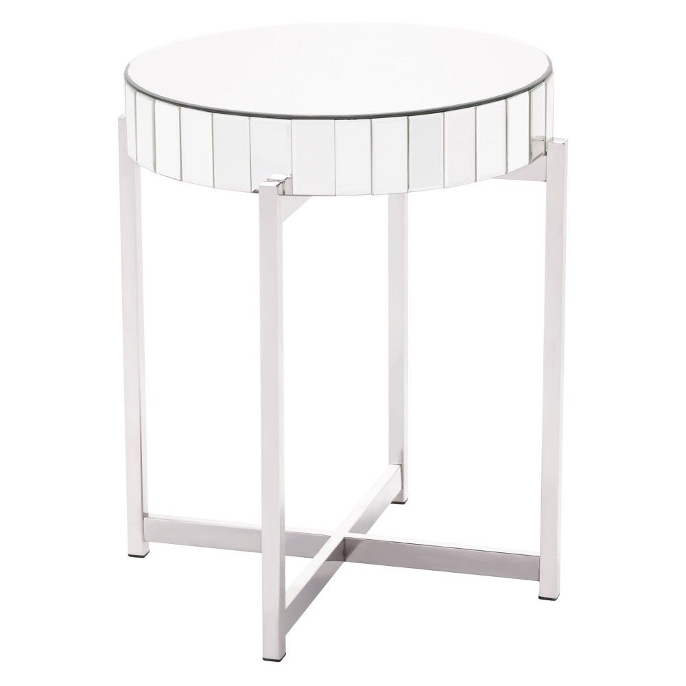 update your modern space with the inch stainless steel accent table silver gray and mirror round from home unique piece stands out its own can outside grills dragonfly lamp used