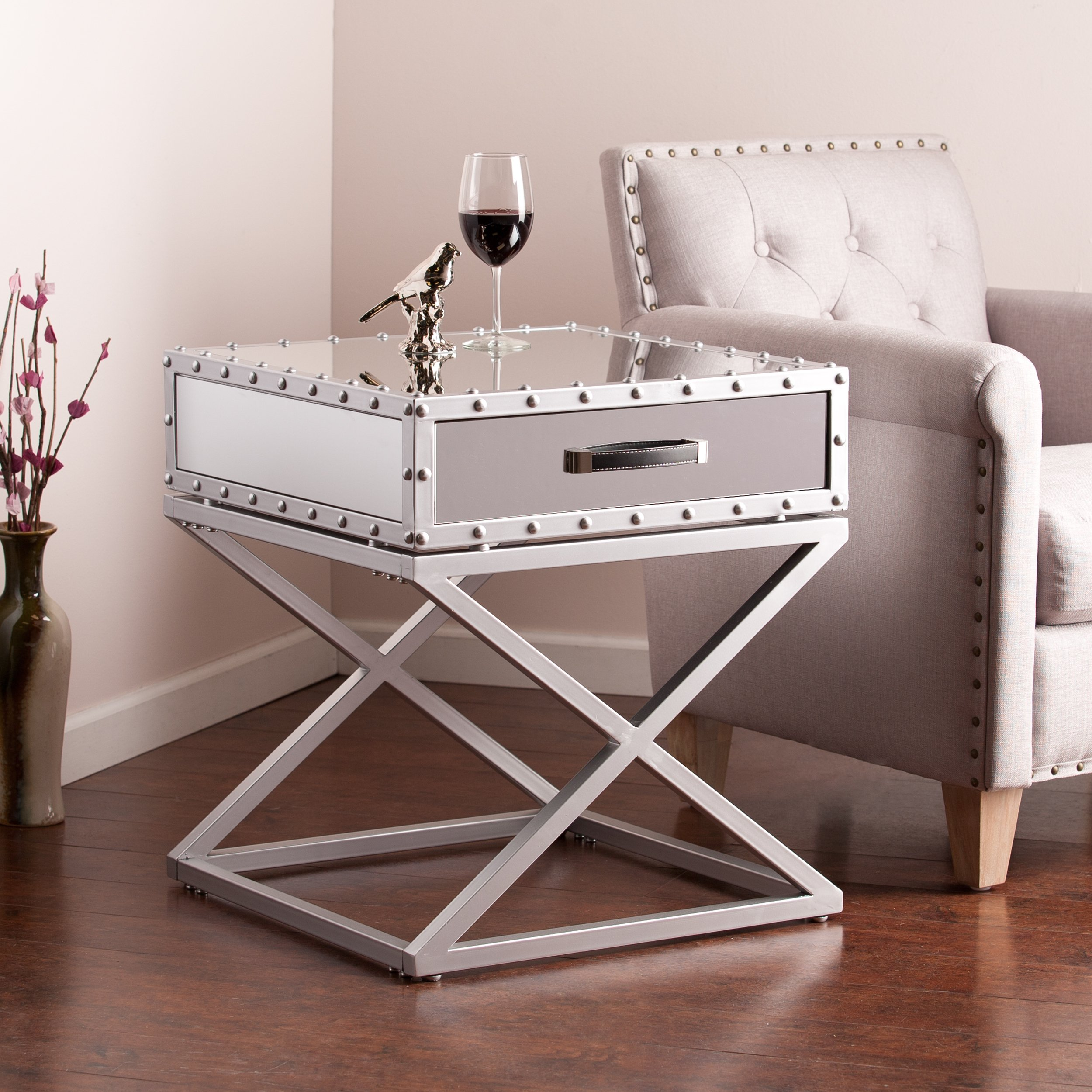 upton home carollton industrial mirrored side end table harper blvd glam accent with drawer free shipping today natural wood tray top vanity chair target tall dining set iron