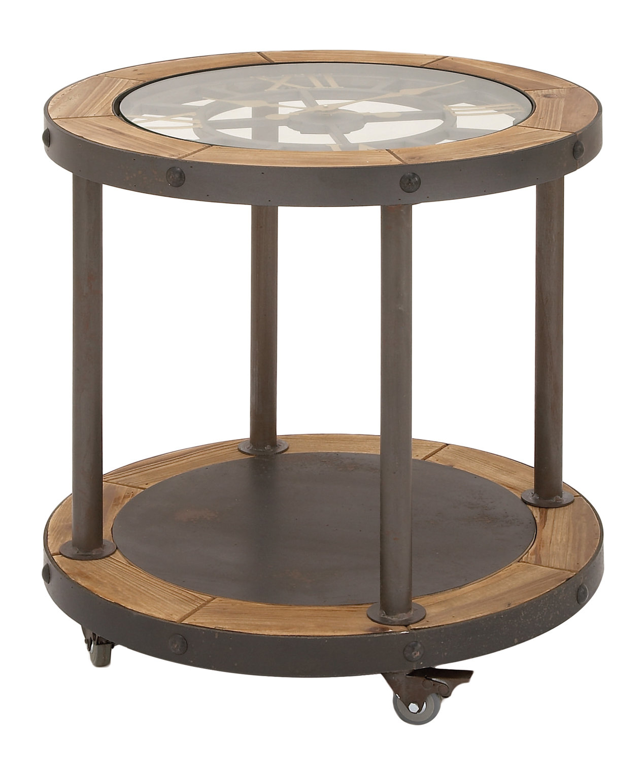 urban designs clock top industrial end table chestnut accent pottery barn bean bag mosaic tile bistro home goods sofa grey occasional formal dining room patio set covers entryway