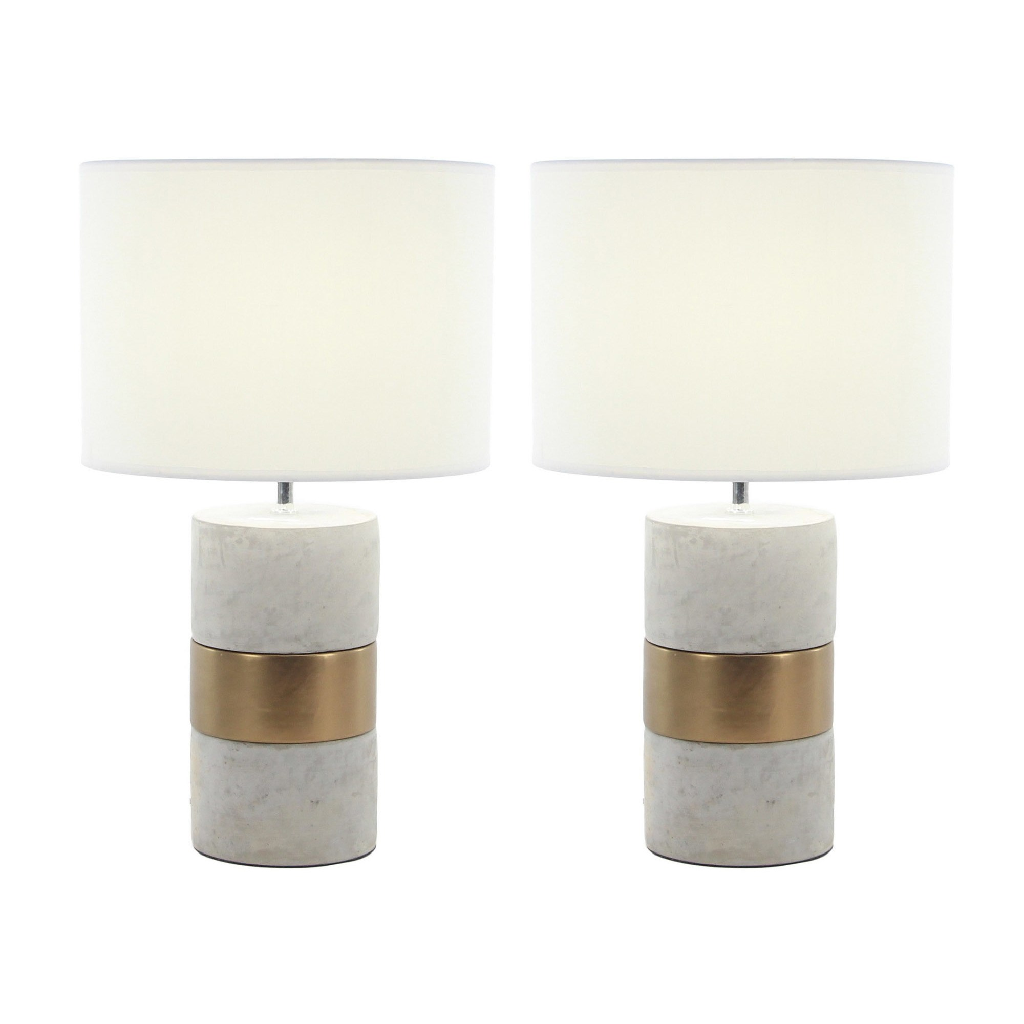 urban designs elegant concrete with gold accent inch table lamp set lamps free shipping today west elm chandelier jute rug black bedroom furniture sets battery wall clocks pier