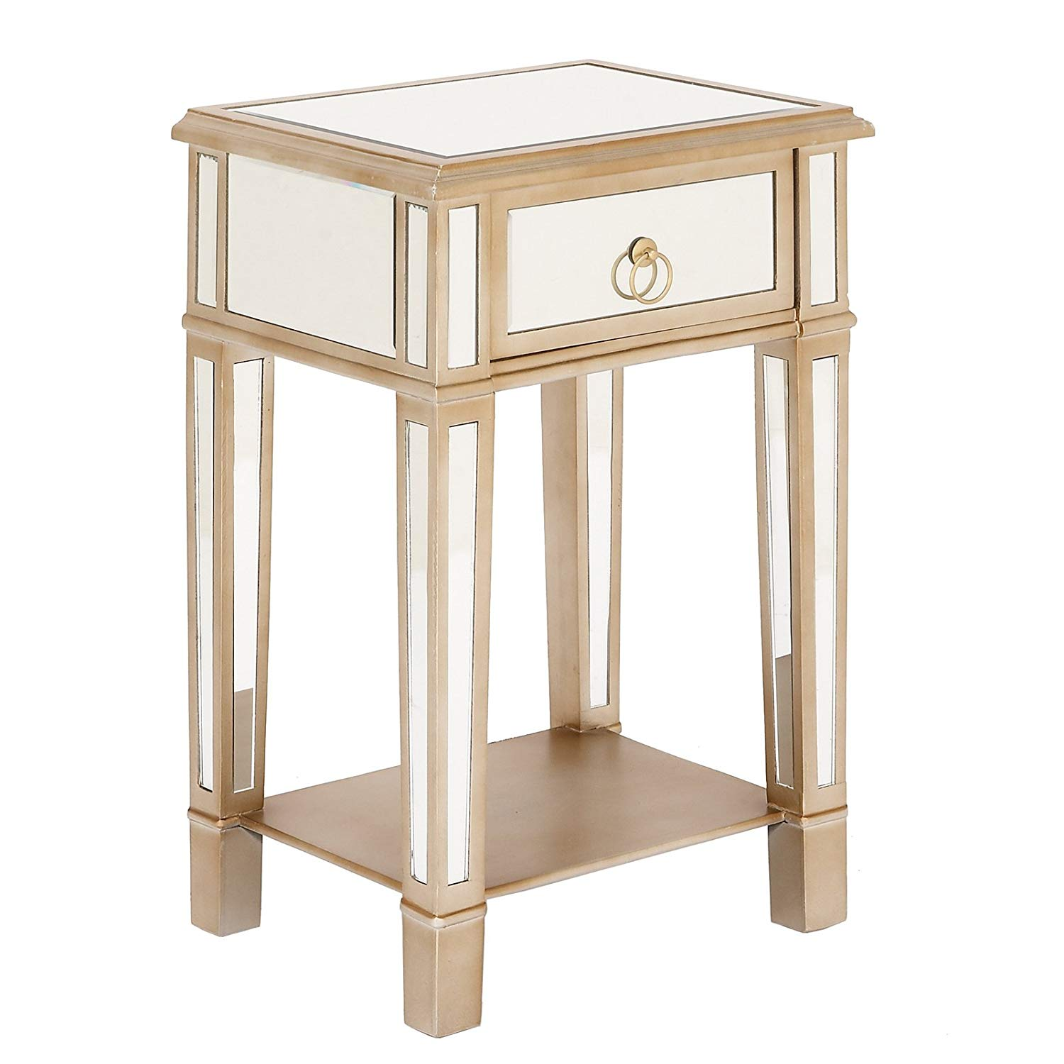 urban designs imported christie wooden mirror side mirage mirrored accent table nightstand with drawer door console cabinet white bedroom inch round tablecloth art deco armchair