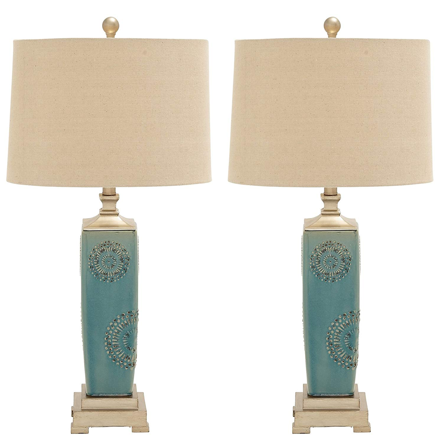 urban designs imported victoria ceramic table lamp set blue accent sky home kitchen pier one wicker chair farmhouse battery powered lanterns tessa furniture inch cabinet plastic