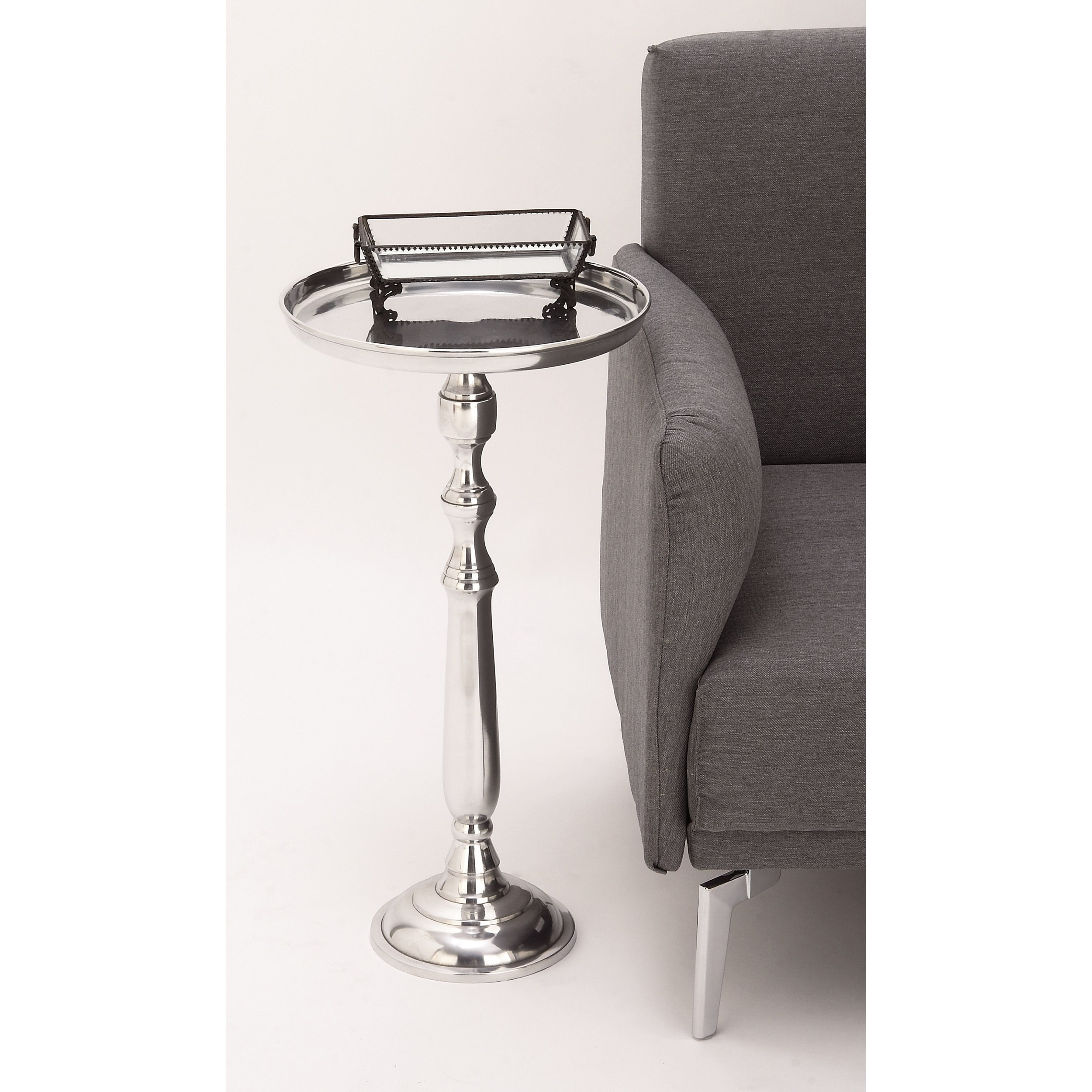 urban designs petite polished nickel cast aluminum round pedestal tray side and accent table white free shipping today modern rustic end tables tall slim lamp desk with drawers