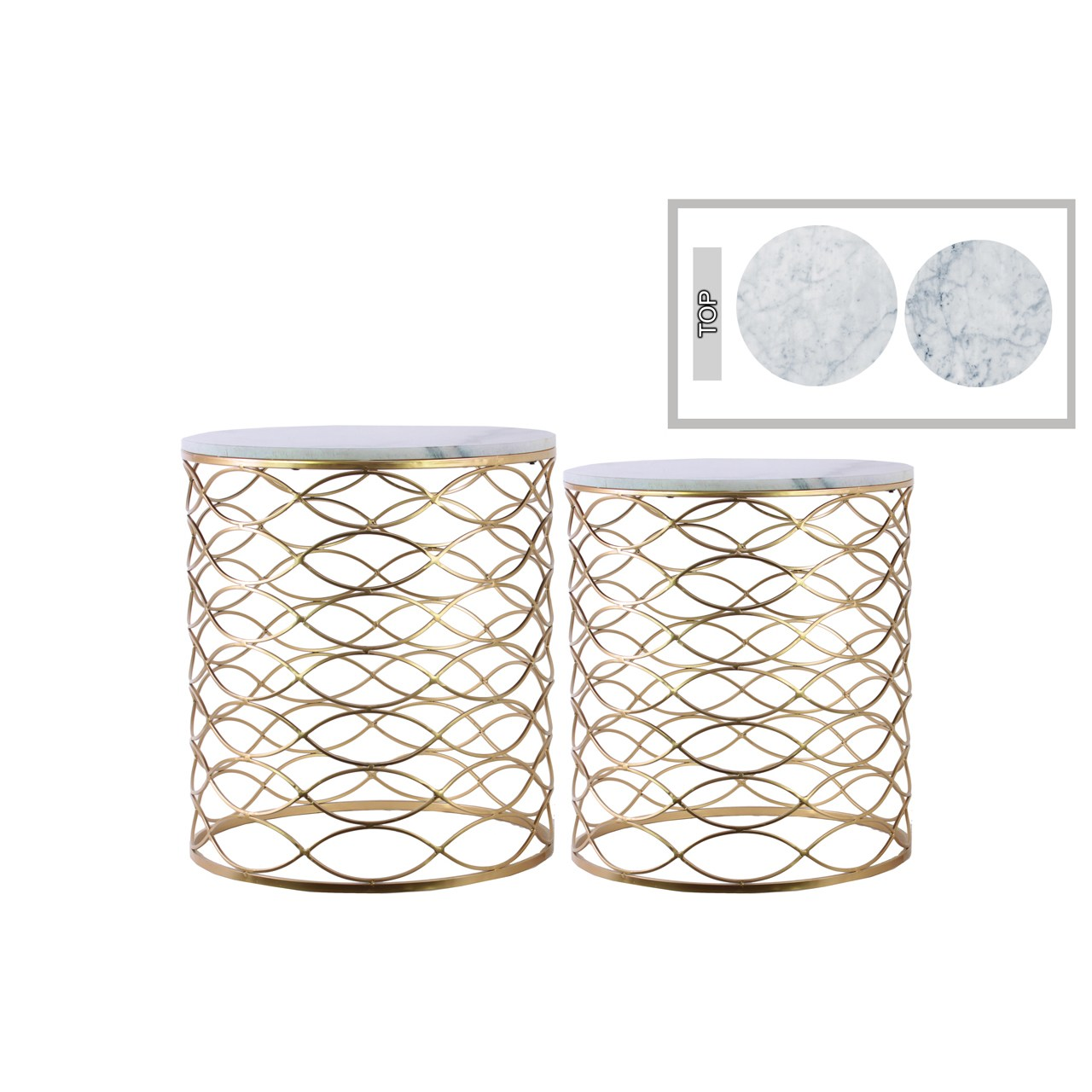 urban trends gold metallic finish metal round marble top nesting accent table with and lattice wave design body set two piece free shipping today teak dining cherry wood small