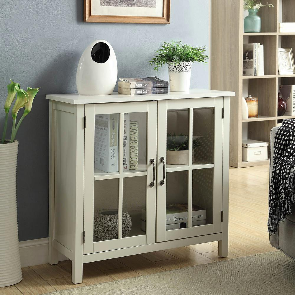 usl olivia white accent cabinet and glass doors the office storage cabinets table with leather chairs for living room dale tiffany peacock floor lamp marble look bedside outdoor