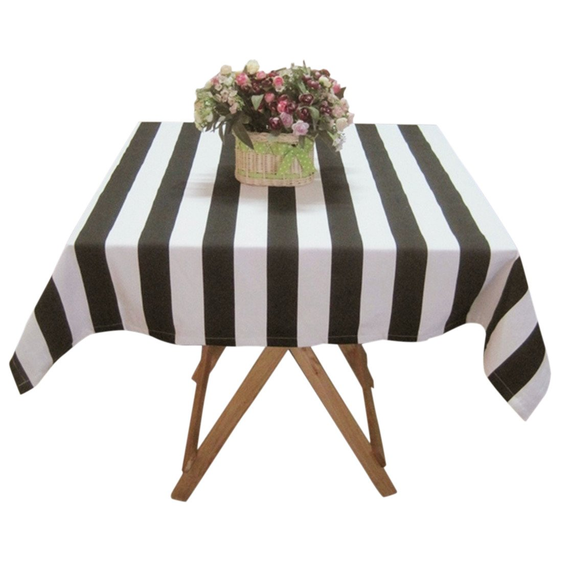 ustide black and white striped tablecloth cotton canvas small accent table cloth cover square home kitchen target decorative pillows ethan allen nightstand west elm marble top