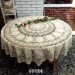 ustide inch round cotton crochet lace tablecloth accent beige vintage woven dining kitchen table cover home runner rugs industrial small metal top end bedside antique serving 150x150