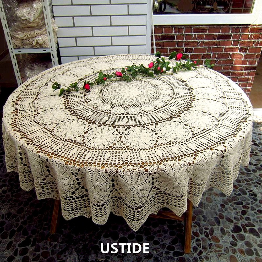 ustide inch round cotton crochet lace tablecloth accent beige vintage woven dining kitchen table cover home runner rugs industrial small metal top end bedside antique serving