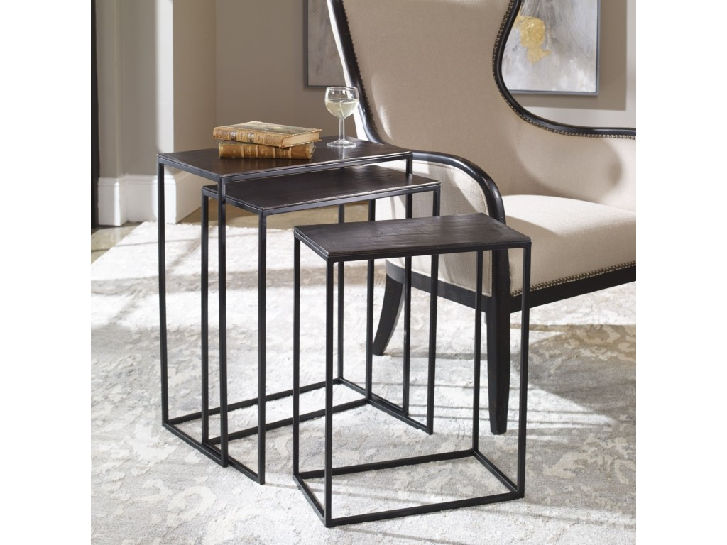 uttermost accent furniture coreene iron nesting tables products color gin cube table furniturecoreene white resin outdoor side marble and brass coffee pier one imports black glass