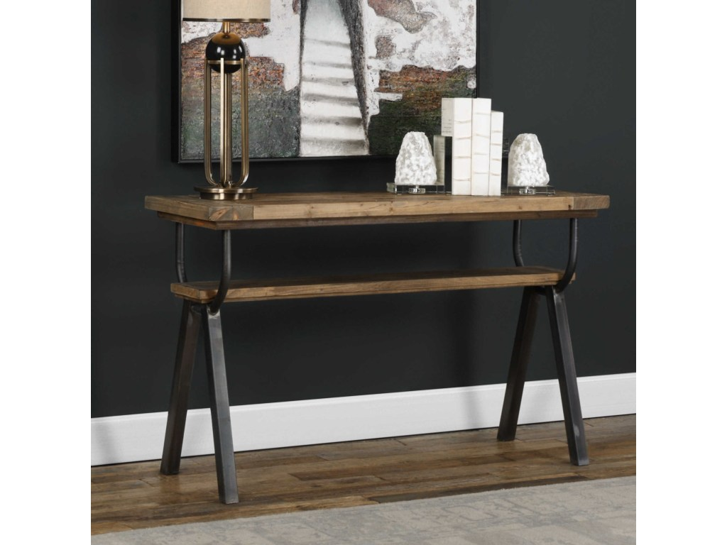 uttermost accent furniture domini industrial console table becker products color asher blue lamp sets clearance narrow entryway cabinet tablecloths and napkins metal dining room