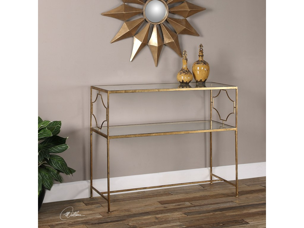 uttermost accent furniture genell gold iron console table miskelly products color stratford wicker folding bronze furnituregenell metal and glass end tables round counter height