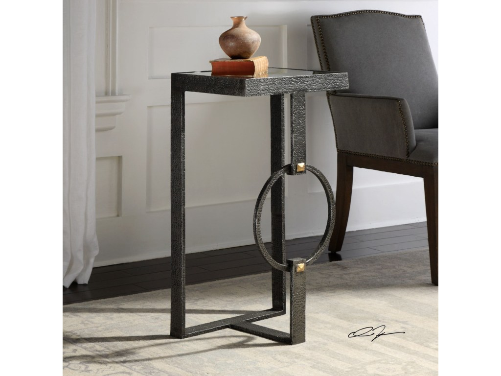 uttermost accent furniture hagen burnished steel table products color blythe furniturehagen contemporary tables trestle bench legs modular glass decor silver metal console pier