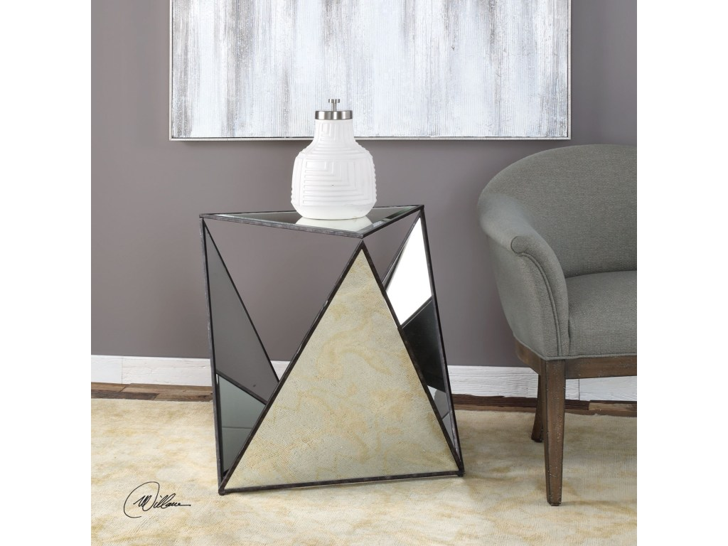 uttermost accent furniture hilaire tripod mirrored products color distressed grey quatrefoil end table with mirror furniturehilaire tab decorative tables for living room pier