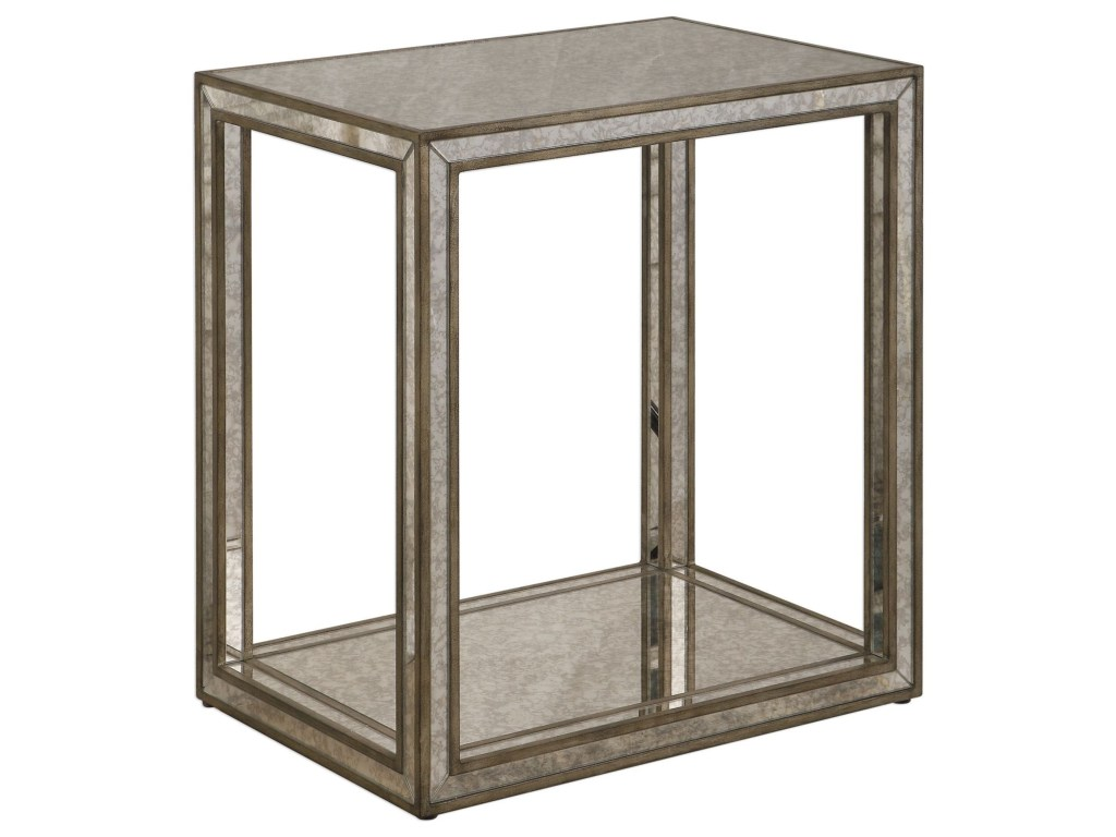 uttermost accent furniture julie mirrored end table dunk products color distressed grey quatrefoil with mirror bright tables cherry nightstand under large outdoor patio umbrella