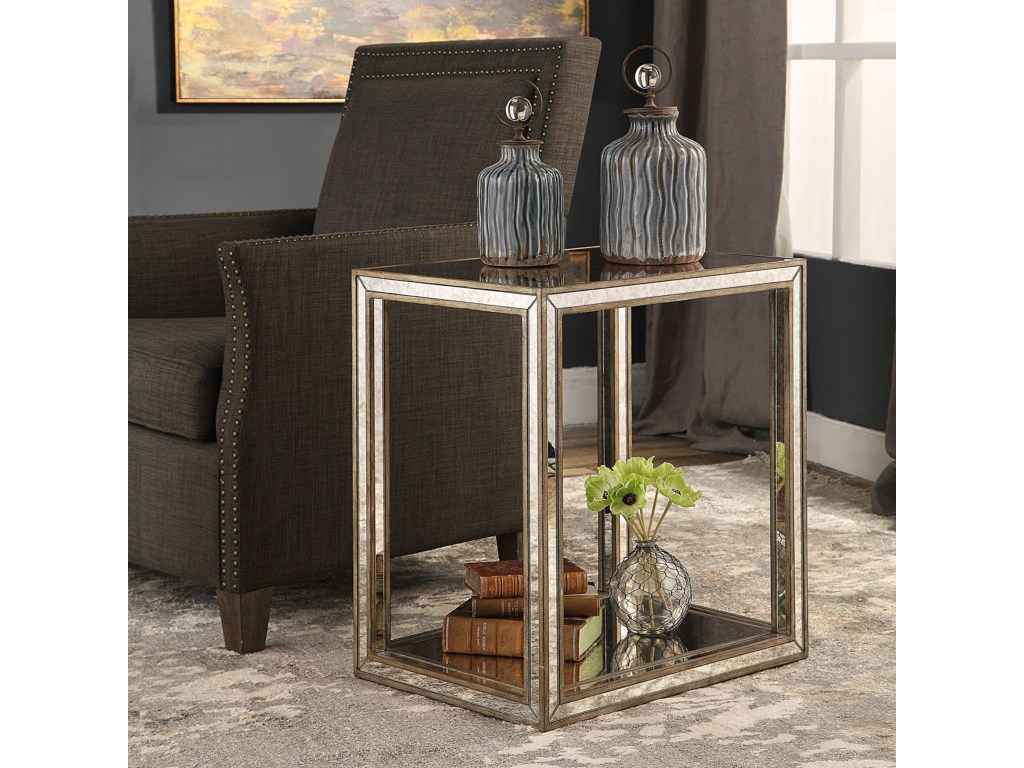 uttermost accent furniture julie mirrored end table dunk products color distressed grey quatrefoil with mirror furniturejulie pier papasan chair nate berkus small round wooden