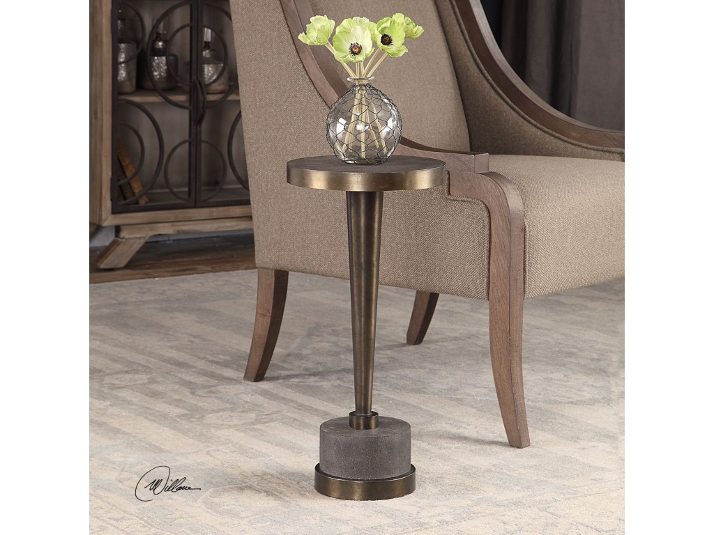 uttermost accent furniture masika bronze table products color metal tables furnituremasika living spaces grey occasional chair astoria grand pottery barn dining chandelier rustic