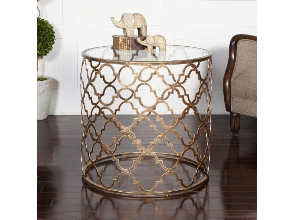uttermost accent furniture occasional tables quatrefoil end products color table tablesquatrefoil wagon wheel antique green side plastic garden round cover grey bedside lights