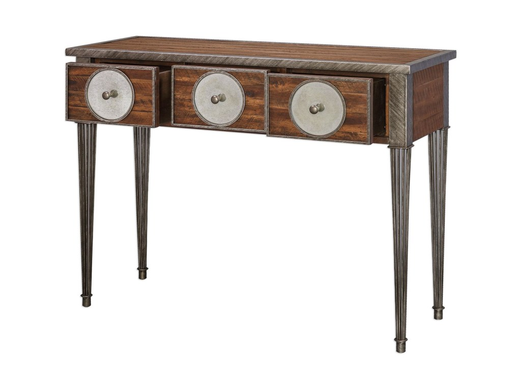 uttermost accent furniture patten distressed walnut console products color grey quatrefoil end table with mirror furniturepatten maritime style lighting target tables high top and