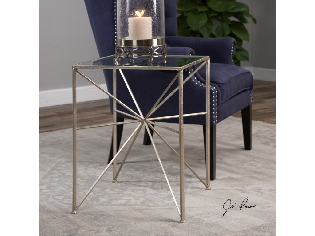 uttermost accent furniture silvana silver side table miskelly products color stratford wicker folding bronze furnituresilvana half moon glass storage cupboards with doors antique
