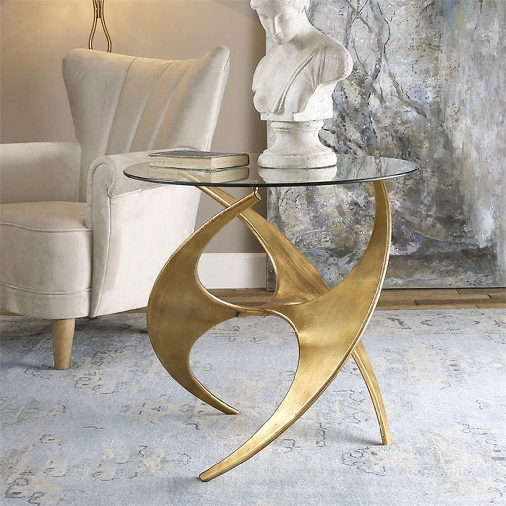 uttermost accent tables antique gold metal glass benjamin rugs table graciano coffee with chairs under plant holder small round wine rack furniture skinny runner dining room