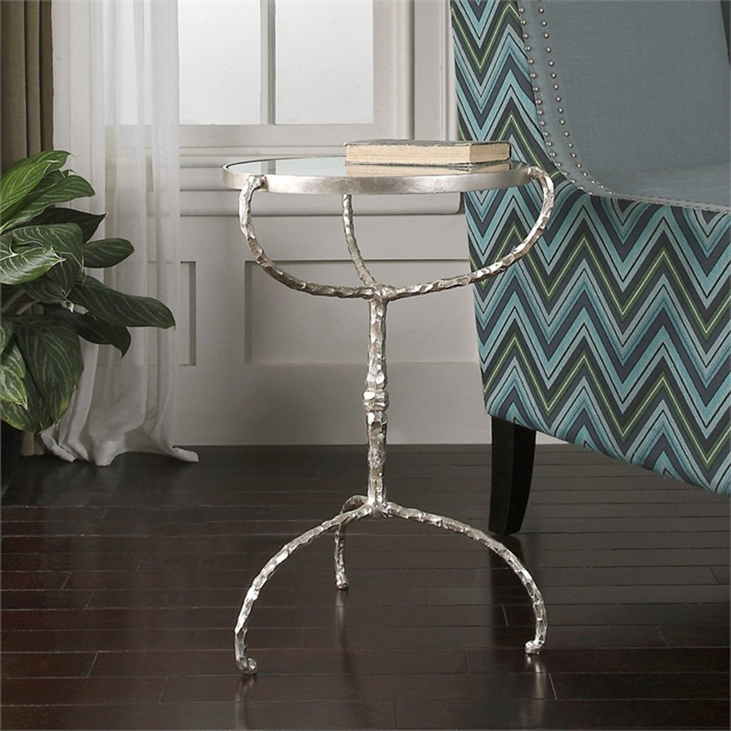 uttermost accent tables bright silver leaf cast iron benjamin table halcion ikea black cube storage gold metal console west elm outdoor round nest small white patio side grey lamp