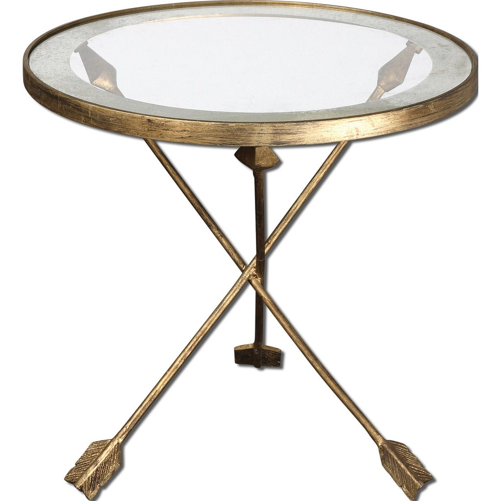 uttermost aero round glass accent table antiqued gold leaf mirrored garden patio modern coffee designs furniture bellevue oak trestle rustic kitchen tables little kid chairs