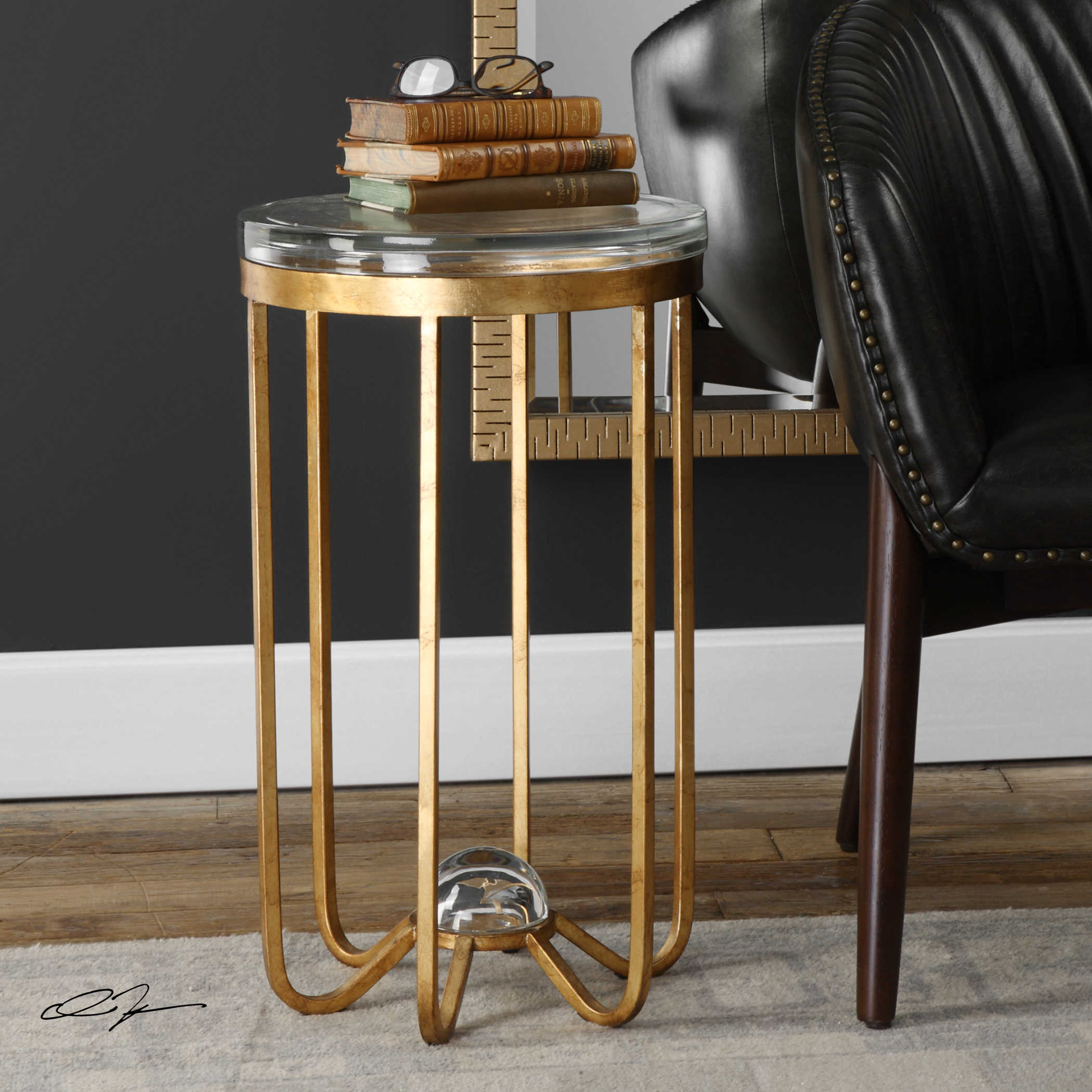 uttermost allura gold accent table round plastic tablecloths with elastic entry for small spaces bedroom night stands oak bar drum throne antique pedestal front porch bench silver
