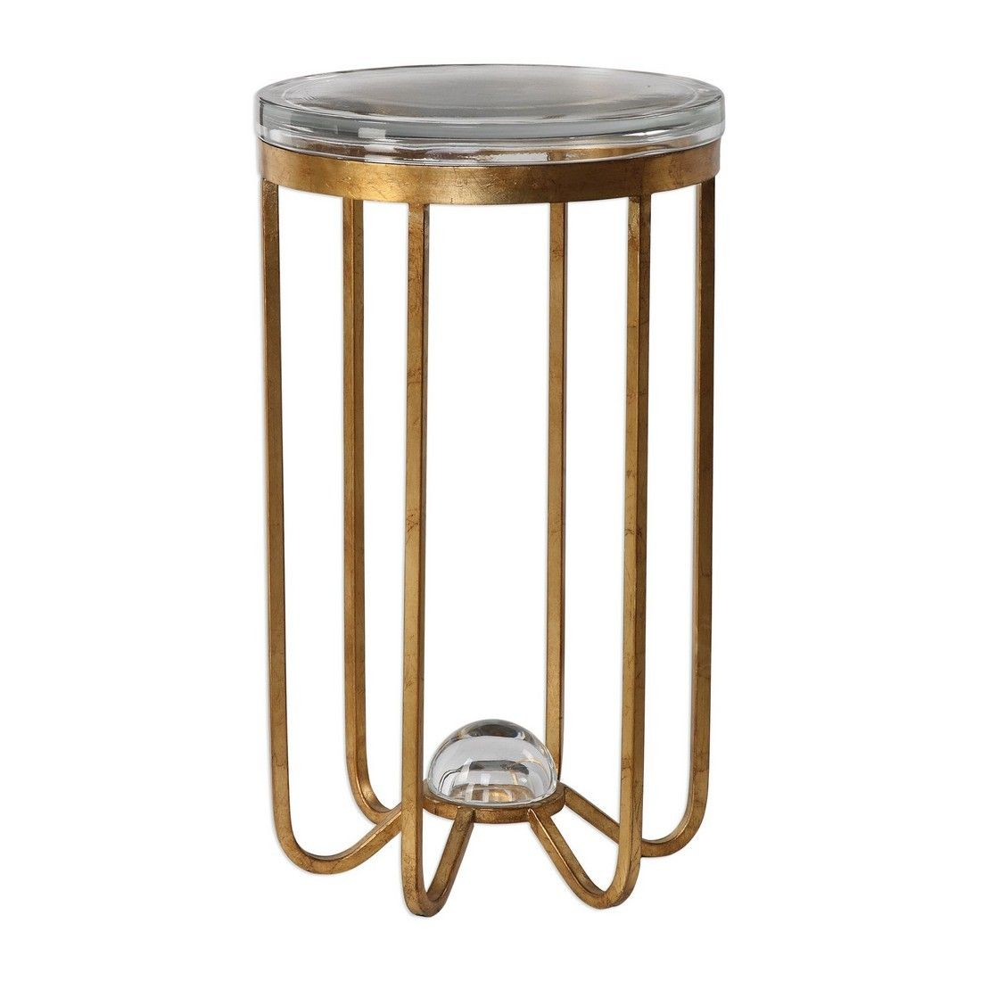 uttermost allura thick round glass accent table antique gold leaf clear crystal lamp target kitchen island gray trestle dining rimmed coffee drop unique small tables wine cupboard