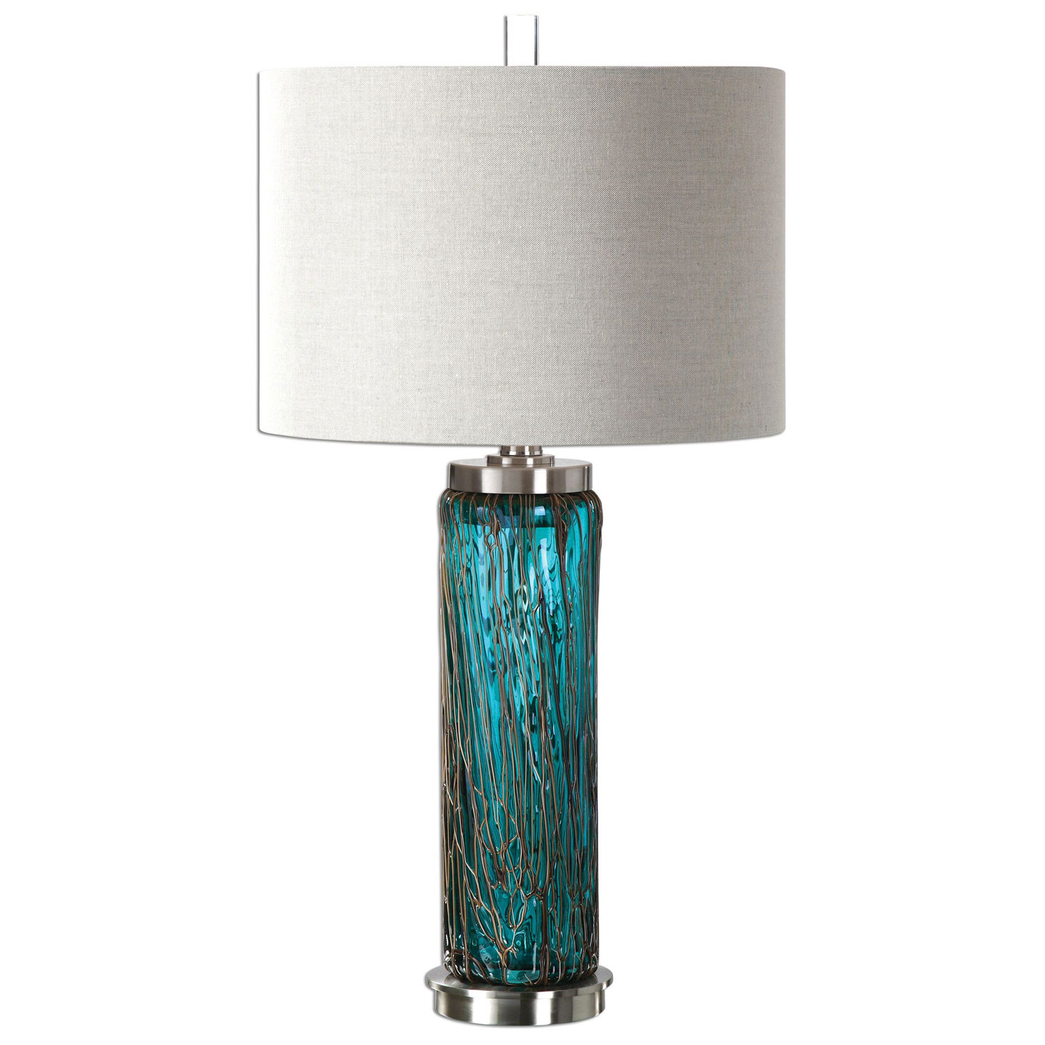 uttermost almanzora blue one light glass table lamp bellacor accent lamps contemporary hover zoom butterfly bedside metal dining room chairs display cabinet black wicker outdoor