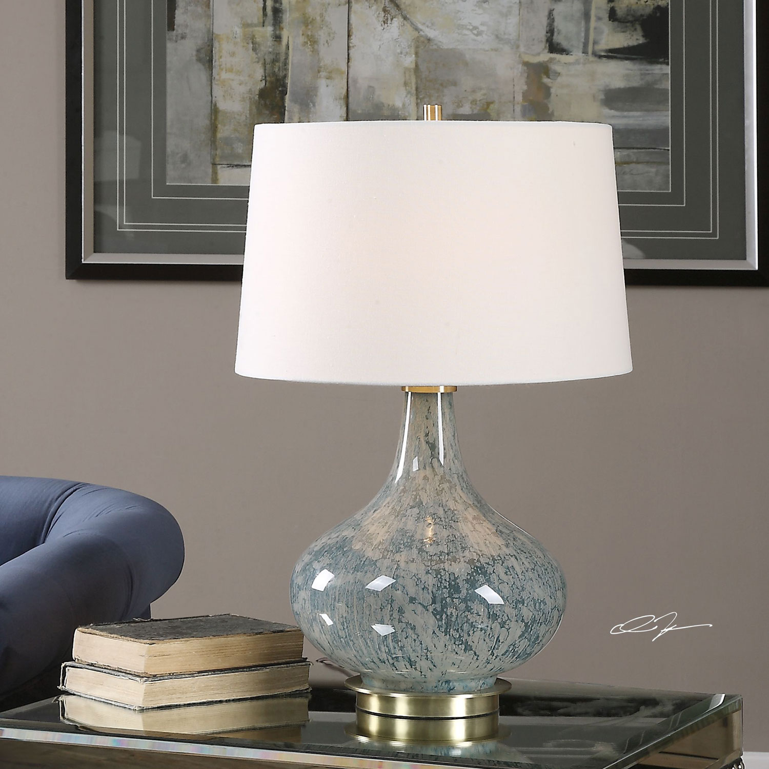 uttermost celinda blue gray one light table lamp bellacor accent lamps contemporary hover zoom small black side cool retro furniture display cabinet west elm pillar leather chairs