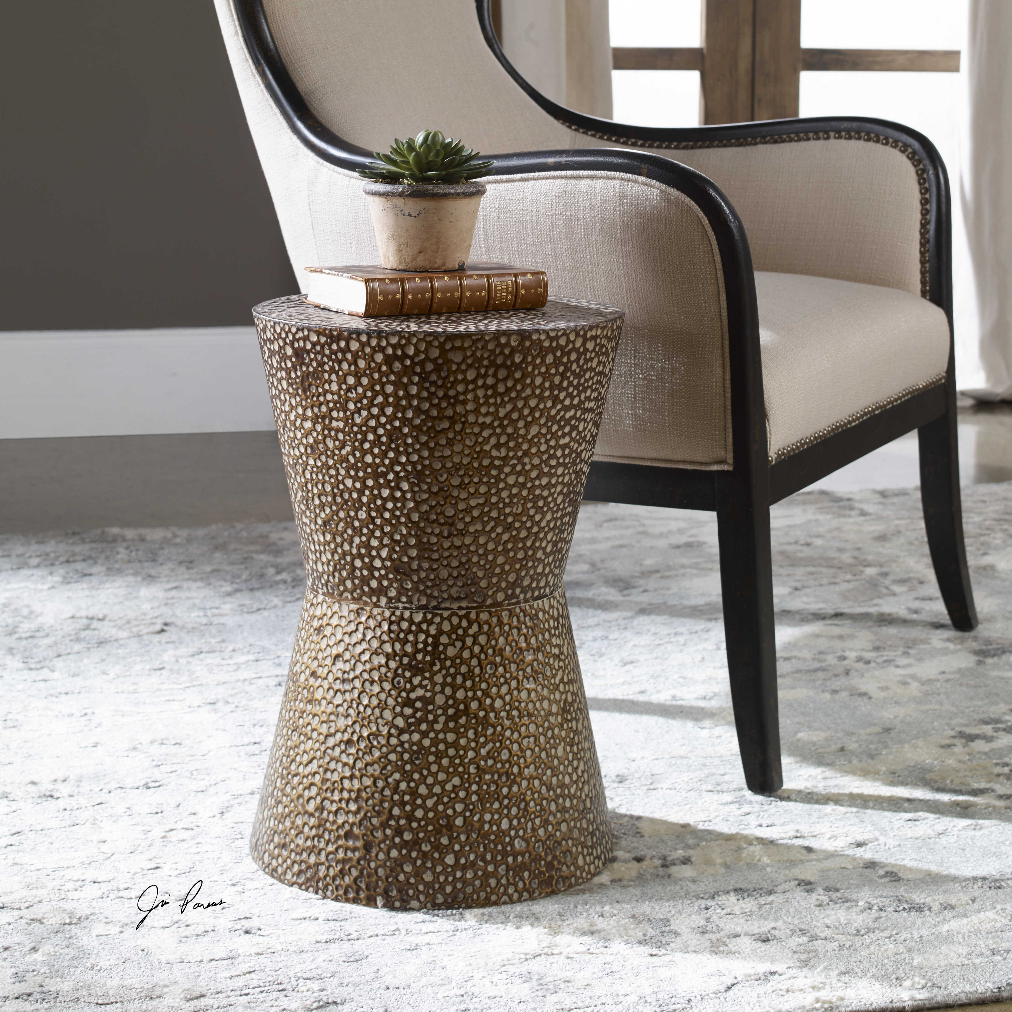 uttermost cutler drum shaped accent table better homes and gardens dishes nate berkus bath rug black gold decorations waterproof patio chair covers beach kitchen decor bar top