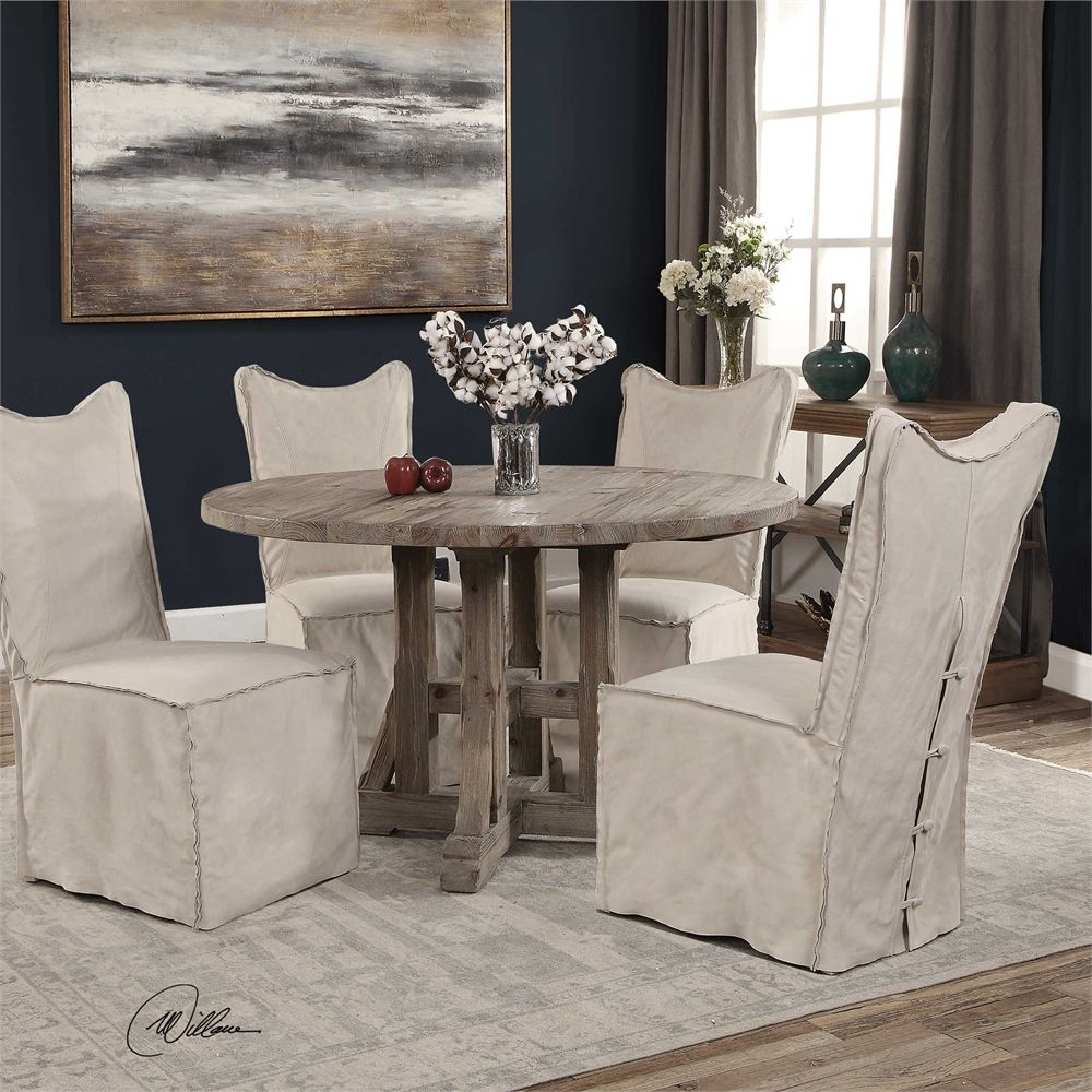 uttermost delroy armless chair stone ivory accent dining table with chairs small room sets umbrella stand bar height wood beach kitchen decor sage green side sofa set bangalore