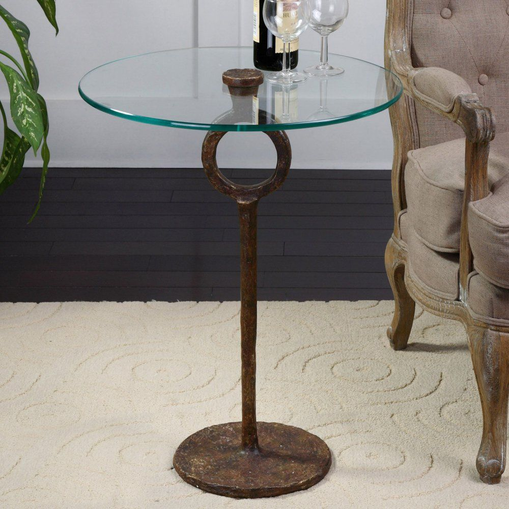 uttermost diogo glass accent table the aged sinley artfully crafted piece made from hand wrought cast iron gold round rope coffee outdoor buffet with cabinets side wicker baskets