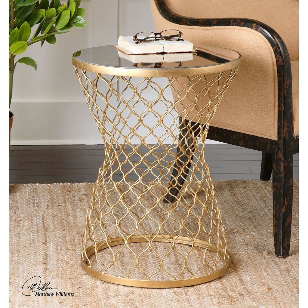 uttermost end table gold accent naeva benjamin rugs coca cola tiffany lamp shade small smoked glass coffee ginger jar lamps outdoor bench pineapple cutter study kids writing desk